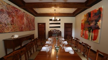 Some of the artworks in the dining room at The Lodge, including Emily Kame Kngwarreye's, <i>Yam awely</i>, (left).
