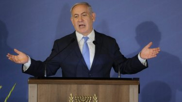 Israeli Prime Minister Benjamin Netanyahu speaks to US Jewish leaders  in Jerusalem  on Wednesday.
