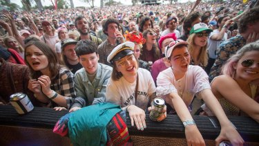 Young people enjoying watching Angel Olsen at the Meredith Music Festival.