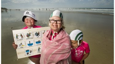 Georgia Brown, 12, Henrietta Graham, 11, and Jimmy Jones, 8, from the Starfish Nippers program at the Anglesea Life Saving Club.