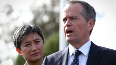 Opposition Leader Bill Shorten and Labor senator Penny Wong, who has argued strongly against the plebiscite and for same-sex marriage.