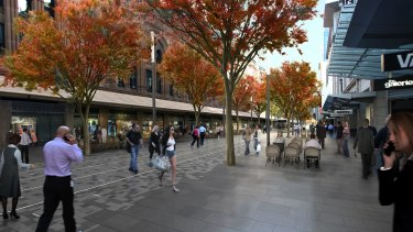 An artist's impression of George Street with trees.
