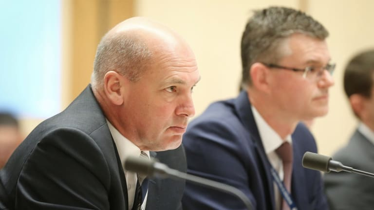 President of the Senate Stephen Parry and Department of Parliamentary Services secretary Rob Stefanic on Monday.
