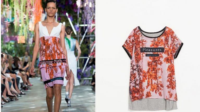 A Dior dress compared with a Zara T-shirt design.