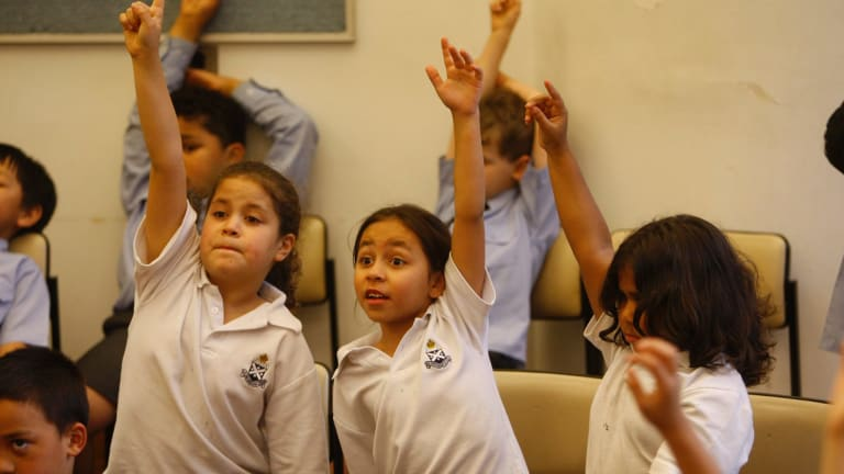 Children at the Gawura Aboriginal School, part of St Andrew's Cathedral School, in Sydney in 2008.