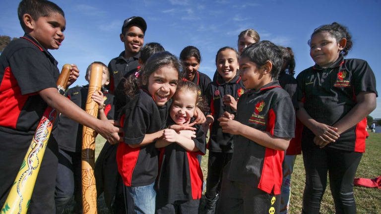 Children from the Mount Druitt Indigenous Children's Choir, who sing not only in English but also Dharug, their native Aboriginal language.