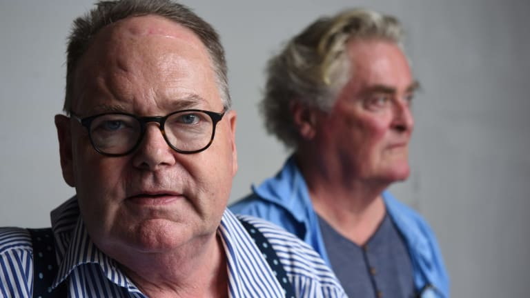 Mark Colvin, left, with actor John Howard who was playing him in the play <i>Mark Colvin's Kidney</i> at the Belvoir this February.