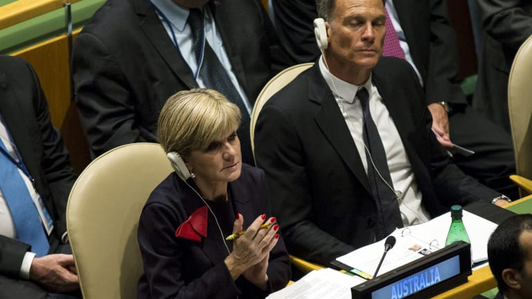 Why was Julie Bishop's boyfriend on the floor of the United Nations, asks Labor