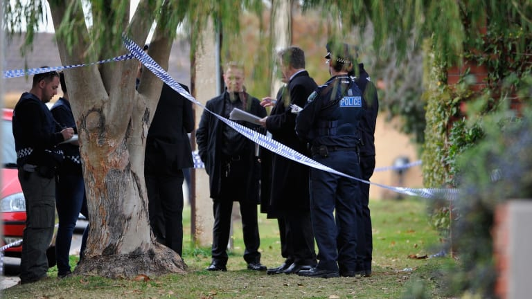 Police outside the Walsh's Adelaide home.