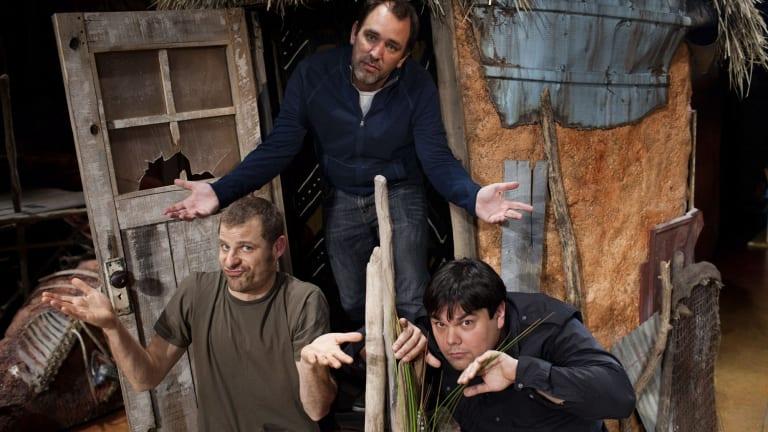 Dynamic trio: <I>The Book of Mormon</i> collaborators (from left) Matt Stone, Trey Parker and Robert Lopez.