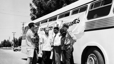 The Aboriginal Freedom Riders in Casino, New South Wales, on February 17, 1965. The Freedom Riders were a group of Sydney University students, motivated by the American civil rights movement, who boarded a bus to travel around regional New South Wales for two weeks.