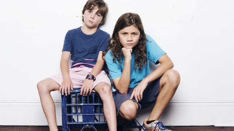 Toby Challenor, 9, and Otis Dhanji, 13, star in cocaine drama <i>Mortido</i> at Belvoir.