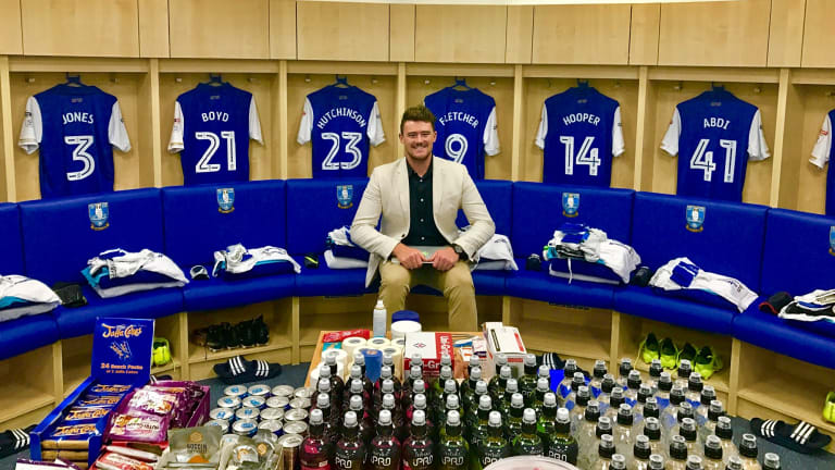 ONTHEGO Sports founder Mick Spencer in the Sheffield Wednesday dressing rooms last week. He flew to the UK for Sheffield's first home game.