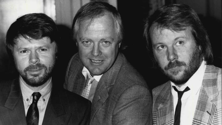 Benny Andersson, Tim Rice, centre, and Bjorn Ulvaeus in 1984.