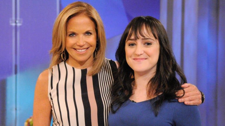 Mara Wilson (R) appears on <i> Katie</i> with Katie Couric in 2013.