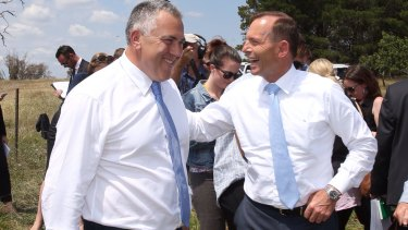 Welded on: Joe Hockey and Tony Abbott.