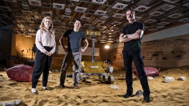 Dr Iya Whiteley, Dr Kevin Fong and Chris Hadfield in Stevenage to assess a test where the candidates control a Mars Rover.