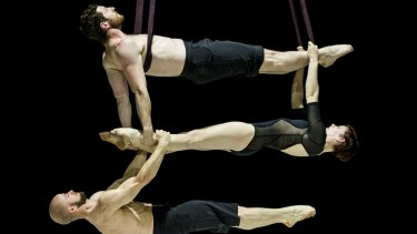 Circa performers Nathan Boyle (top) Jessica Connell and Duncan West during a practice routine at the Canberra Theatre.