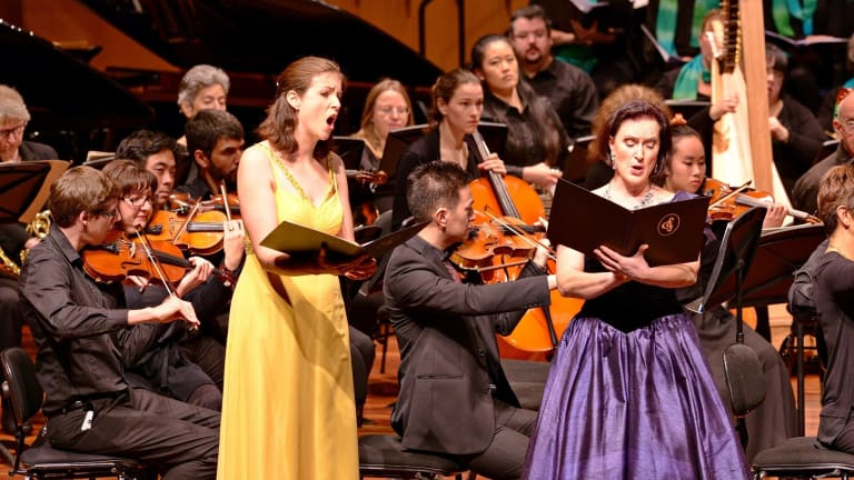 Front from left, Susannah Lawergren and Sarahlouise Owens were well matched in <i>River Symphony</i>.