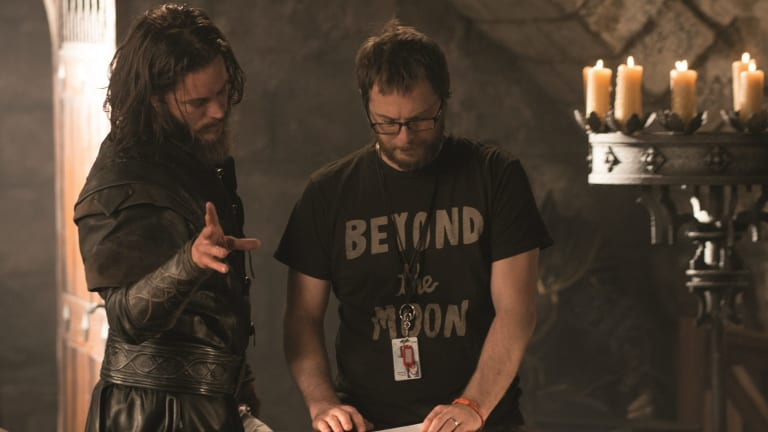 Travis Fimmel (left) and director Duncan Jones on the set of <i> Warcraft</I>.