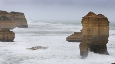 The rock formation which tumbles into the sea at Loch Ard Gorge. The rock  was part of what is called the Honey Pots formations, east of the Razorback.