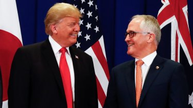 US President Donald Trump with Prime Minister Malcolm Turnbull.