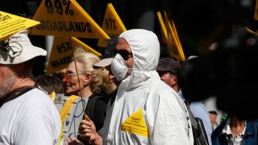 """Protesters chanted """"No fracking way"""" as they marched in the Melbourne CBD."""