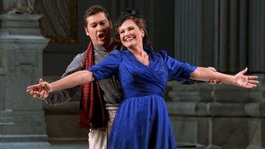 Teodor Ilinci as Cavaradossi and Ainhoa Arteta as Tosca in Opera Australia's production of <i>Tosca</i>.