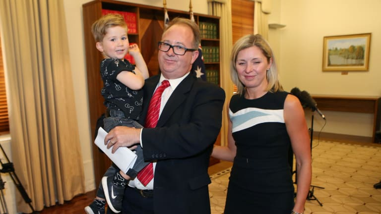David Feeney with his wife Liberty Sanger and son Ned after resigning from federal Parliament.