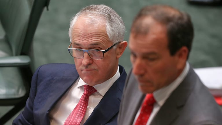Prime Minister Malcolm Turnbull and Special Minister of State and Minister for Defence Materiel and Science Mal Brough, who stepped aside on Tuesday.