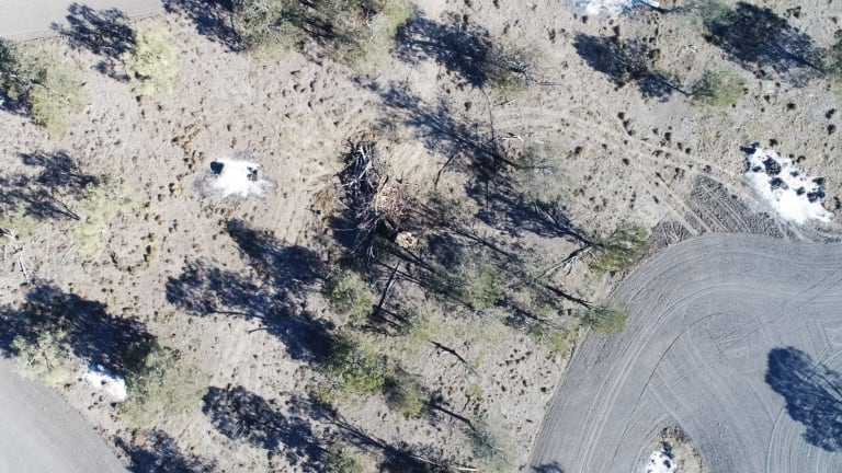 Land-clearing north of Moree in NSW filmed from above in August.