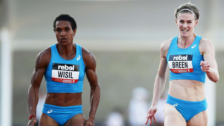 Toea Wisil nudges out Melissa Breen in a race in Canberra last month.