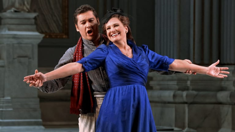 Teodor Ilinci as Cavaradossi and Ainhoa Arteta as Tosca in Opera Australia's production of <i>Tosca</i>.