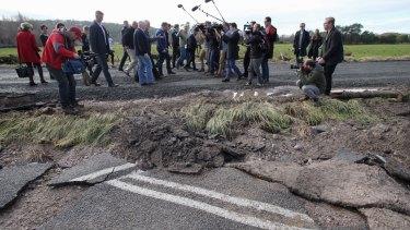 Prime Minister Malcolm Turnbull viewed flood damage at Latrobe near Devonport with Tasmanian Premier Will Hodgman on Thursday.