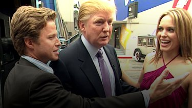 host Billy Bush, Donald Trump and actor Arianne Zucker in 2005, on the day of the infamous tape recording.