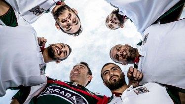 Homegrown recruits: Toufil Elhage, Imad Ohidiac,Raymond Sabat, Wael Harb and Ali Abou Arabi with Brad Fittler.