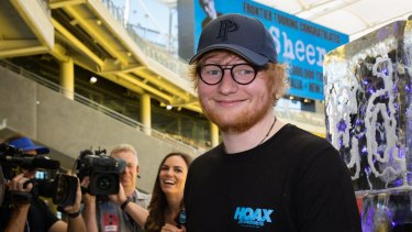 Ed Sheeran at Optus Stadium on Thursday ahead of his Australian tour.