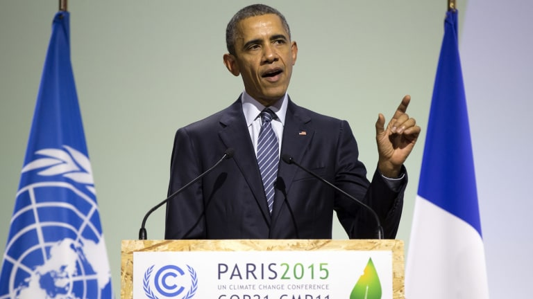 Obama speaking at the conference centre in Le Bourget, Paris.