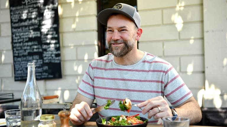 Lunch with Anthony 'Lehmo' Lehmann at the Fitz cafe.