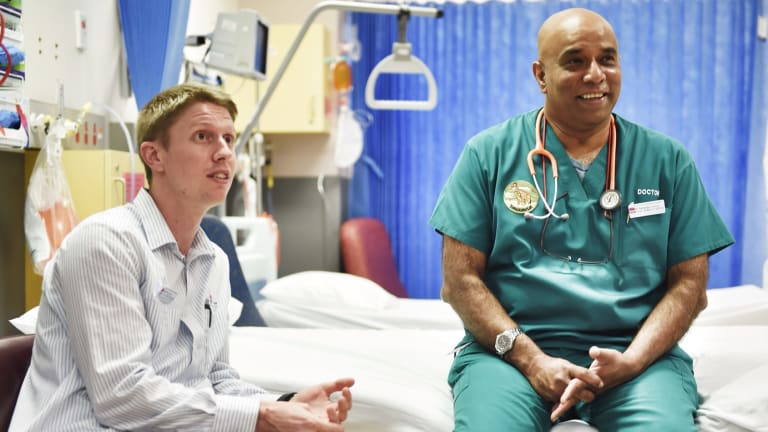 """The emergency department can't admit patients if there's no flow at the other end. Now everyone is involved"": Dr Sellappa Prahalath, with nurse unit manager Daryn Mitford."