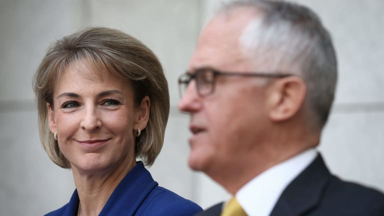 """Minister for Women Michaelia Cash talked up the government's $55.7 million """"funding boost""""."""