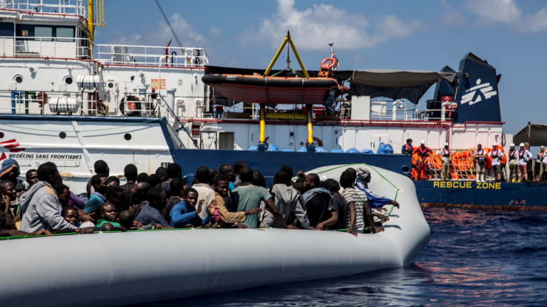 Boats packed with refugees set off from the coast of Libya in calm conditions. The Dignity 1 rescued around 1500 people between September and October.