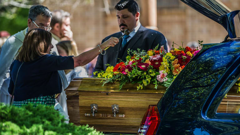 The funeral at St Christopher's Catholic Church for Kate Goodchild and Luke Dorsett.