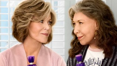 Jane Fonda and Lily Tomlin play sex toy designers for older women in Netflix series Grace and Frankie.