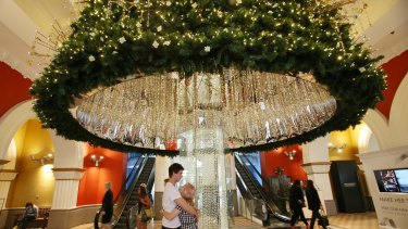 The Queen Victoria Building's Swarovski Christmas tree, which houses 65,150 lights and 82,000 crystals.