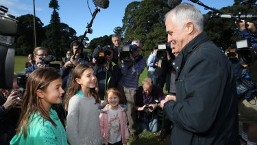 Greener outlook: Prime Minister Malcolm Turnbull at Centennial Park on Sunday.