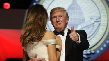 President Donald Trump dances with first lady Melania Trump at the Liberty Ball.
