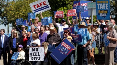 A protest against TAFE cuts in Belmont, near Newcastle, last year.