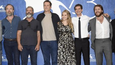 Mel Gibson with the cast of <i>Hacksaw Ridge,</i> from left, Hugo Weaving, Gibson, Vince Vaughn, Teresa Palmer, Andrew Garfield and Luke Bracey.
