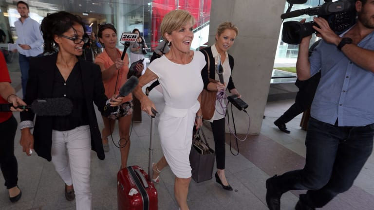 """""""Complained"""" after an airport check: Julie Bishop, pictured at Canberra Airport earlier this year, was singled out to be scanned on her way through Melbourne Airport."""